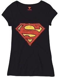 Tee-Shirt Femme Noir Logo Superman Pause Canap