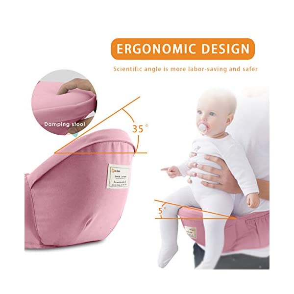 SONARIN 3 in 1 Multifunction Hipseat Baby Carrier,Front and Back,100% Cotton,Ergonomic,Easy Mom,Adapted to Your Child's Growing, 100% Guarantee and Free DELIVERY,Ideal Gift(Pink) SONARIN Applicable age and Weight:0-36 months of baby, the maximum load:36KG, and adjustable the waist size can be up to 47.2 inches (about 120 cm). Material:designers carefully selected soft and delicate Cotton fabric. Resistant to wash, do not fade, ensure the comfort and breathability, Inner pad: EPP Foam,high strength,safe and no deformation,to the baby comfortable and safe experience. Description:Scientific 35°, the baby naturally fits the mother's body, safe and comfortable.Patented design of the auxiliary spine micro-C structure and leg opening design, natural M-type sitting.H-type bridge belt, effectively fixed shoulder strap position, to prevent shoulder straps fall, large buckle, intimate design, make your baby more secure. 4