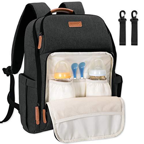 NEWHEY Baby Wickelrucksack Wickeltasche Multifunktional Große Kapazität Babytasche Reiserucksack und 2 Kinderwagen Gurten für Unterwegs 28L Schwarz