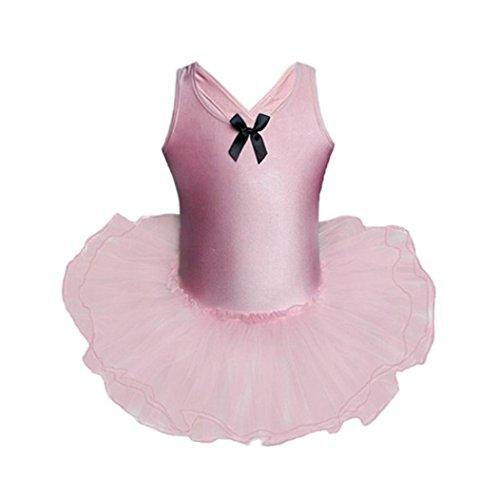 ongff Kleinkind Mädchen Ballettkeider Ballettanzug Gaze Trikots Ballett Body Dancewear Kleid Performance Kleidung Puff Rock Outfits Prinzessin Kleid 100-140 (140-6T, Rosa) (Rapunzel Ballett Kleid)