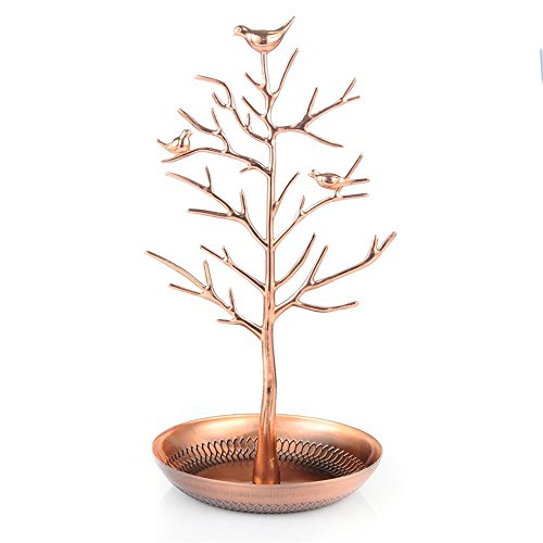 union-tesco-new-antique-rose-gold-birds-tree-jewellery-stand-display-earring-necklace-holder-jewelle