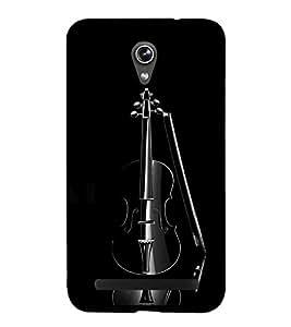 FUSON Elegant Black Violin 3D Hard Polycarbonate Designer Back Case Cover for Asus Zenfone Go ZC500TG (5 Inches)