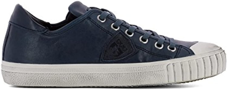 Philippe Model Herren GRLUVW03 Blau Leder Sneakers