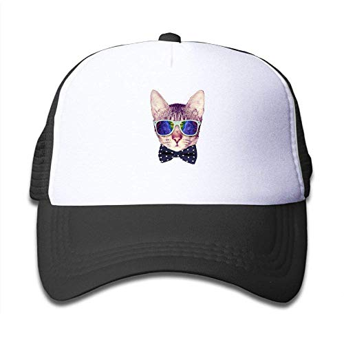Bow Tie Cute Cat Kids' Snapback Adjustable Mesh Hip Hop Hat Holiday Plaid Bow Tie