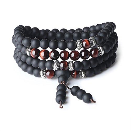 COAI® Pulsera Collar de 108 Cuentas Mala Ojo de Tigre Rojo y Ónice Mate Piedra Semipreciosa Tibetana 6mm
