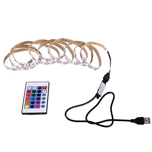 PETUNIA USB LED Strip Light Waterproof 24 Colors RGB LED TV Backlight with Remote - Multicolor(2m)