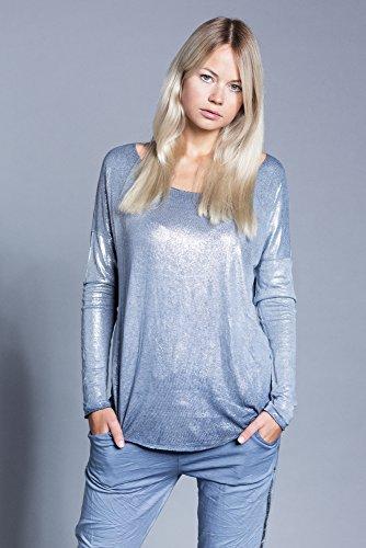 Abbino 6286 Chemisiers Blouses Tops Femmes Filles - Fabriqué en Italie - Plusieurs Couleurs - Été Automne Hiver Plaine Chemises Brillant Viscose Manches Longues Elegante Classique - Taille Unique Bleu (Art. 6286)