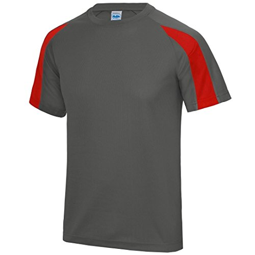 AWDis Cool Contraste Cool T - Charcoal/ Fire Red