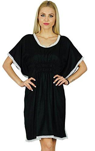 Bimba femmes courtes en coton Kaftan Top à manches papillon dos élastique robe noire Caftan Noir