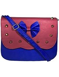 Bizarre Vogue Stylish Partywear SlingBags Cum Handbags For Women & Girls (Adjustable Strap, Pink & Blue)