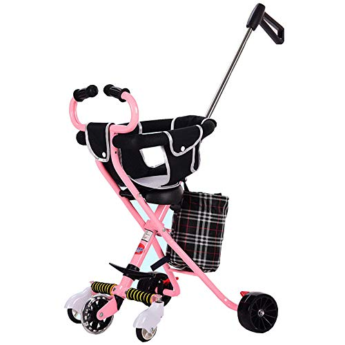 Passeggino trolley leggero in aereo Adatto per 3-8 anni Carrello a cinque ruote in lega di alluminio Passeggino per bambini semplice auto pieghevole (Colore : Pink)