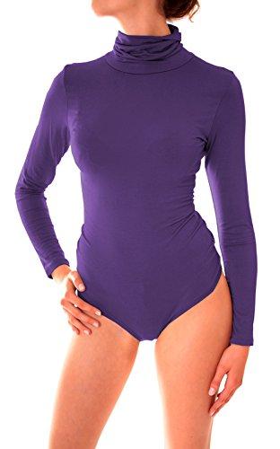 Weicher Damen Langarm Jersey Rollkragen Body Onesize Uni Violett