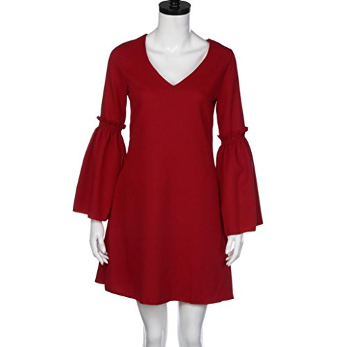 Igemy Mode Frau Flare Langarm Mini Kleid Rot