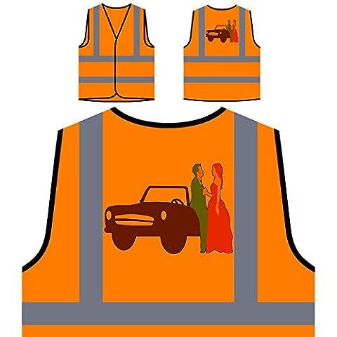Hochzeits-Einladung Braut Personalisierte High Visibility Orange Sicherheitsjacke Weste o267vo (Personalisierte Einladungen)