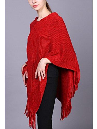 SOIXANTE - Poncho - Basic -  donna Rosso