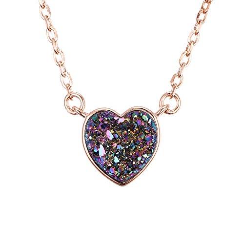 �Sterling Silber lilafarbener Rainbow Herz Anhänger Halskette Rotgold (Einzigartige Halloween Kostüm Ideen Für Frauen)