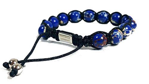 Jo.28 Designer Armband Blue Planet aus Handarbeit - Edles Perlenarmband mit echten Perlen aus Meeres Sediment des Pazifischen Ozeans - Armschmuck für Damen und - Paracord Jade