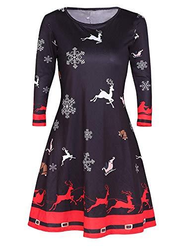 Avacoo Damen Kleid Weihnachten Langarm Weihnachtskleid Festlich Partykleid Weihnacht Rentier XX-Large 44