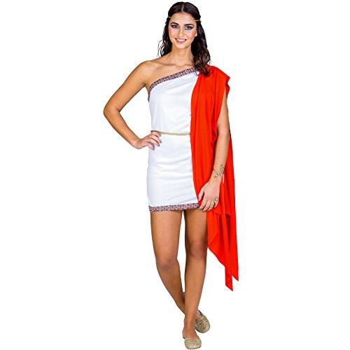 TecTake dressforfun Frauenkostüm sexy Gladiatorin | Kurzes, sexy Kleid | One-Shoulder-Ausschnitt | inkl. Bindegürtel Band als Kopfschmuck (XXL | Nr. - Sexy Spartan Kostüm