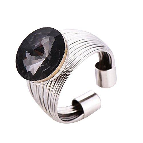 YXYP Impression 1PCS Ringe Ring Blumen-Diamant-Ring Mode-Ring Schmuck-Girl Zubehör Valentinstag Geschenke aus Glas Hochzeit Ring offen Gold Rosa 23