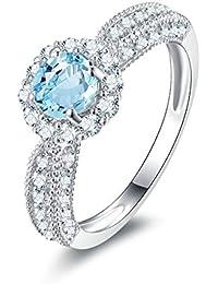 Blisfille Anillo de Compromiso con Diamante Joyería Anillos de Compromiso de Oro Blanco Anillo Mujer Plata