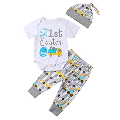 Tyoby Baby Kleine Prinzessin Ei drucken Body + Hose + Hut Sommer Mode Dreiteiliger Anzug Kinderanzug(Grau,90)