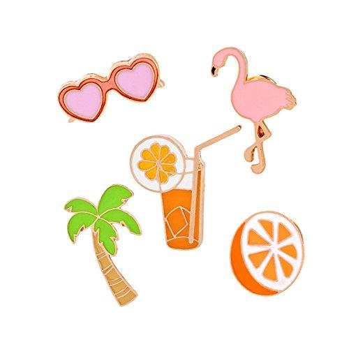 Adisaer Damen Tasche Kragen Anstecker Brosche Emaille Orange Saft Kokosnussbaum Sonnenbrille Broschen Multi Farben Mädchen 5 Stück (Kostüm Tauben Bücher)