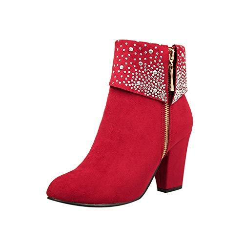 YWLINK Damen Elegant Falsch Kristall Funkelnd Klassisch Blockabsatz ReißVerschluss Warme Stiefel Runde Zehenschuhe(37 EU,Rot)