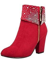 99e303cd7cd322 Riou Damen Strass mit Hohem Absatz Stiefeletten Runde Kappe Reißverschluss  Herbst Winter Elegant Freizeit Ankle…