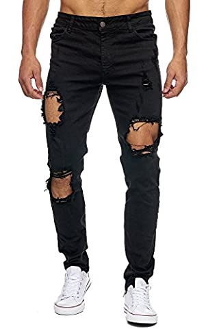 MEGASTYL Herren Hose Ripped Jeans Darknessschwarz Slim-Fit Stretch-Denim, Farbe:Schwarz, Größe:W30