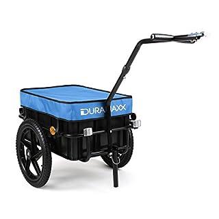 Duramaxx Big-Mike • Fahrradanhänger • Lastenanhänger • Handwagen • mit Hochdeichsel • Transportbox mit 70 Liter Volumen • Tragkraft: max. 40 kg • Kugel-Kupplung für Fahrräder mit 26'' - 28'' • blau