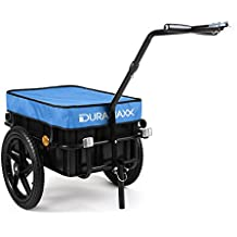 oneConcept Big Blue Mike - Remolque para bicicletas 70 L azul (cesta extraible, estructura metalica, 40kg max., lona azul impermeable, apto uso como carrito, neumaticos con valvula)