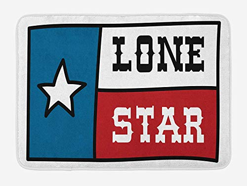 NasNew Doormats Texas Star Bath Mat, Lone Star Flag United States of America Themed Patriotic Design, Plush Bathroom Decor Mat with Non Slip Backing, 23.6 W X 15.7 W Inches, Cobalt Blue Ruby White Cobalt Blue Jelly