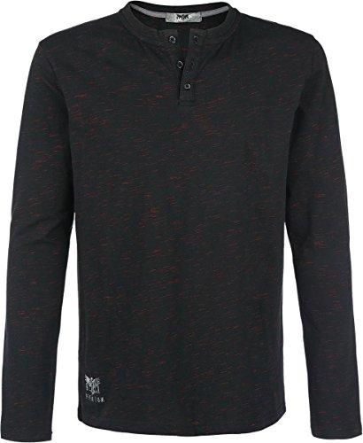 Black Premium by EMP Henley Longsleeve Schwarz/Rot L (Henley Sleeve Co Long)