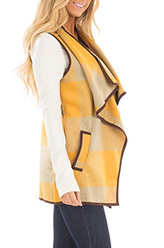 Donne Autunno Cappotto Giacca Senza Maniche Plaid Gilet con Tasca Cappotto di Lana Caldo Cardigan Senza Maniche Tops Yellowkhaki
