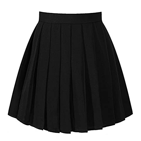School Girl Uniform Solid Pleated Mini Skirt