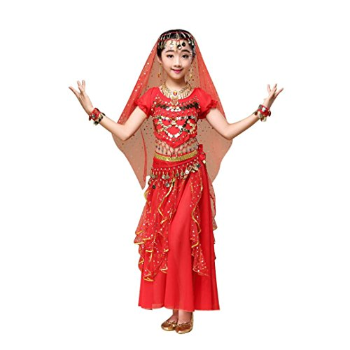 Hunpta Kinder Mädchen Bauchtanz Outfit Kostüm Indien Dance Kleidung Top + Rock (136~150cm, Rot)