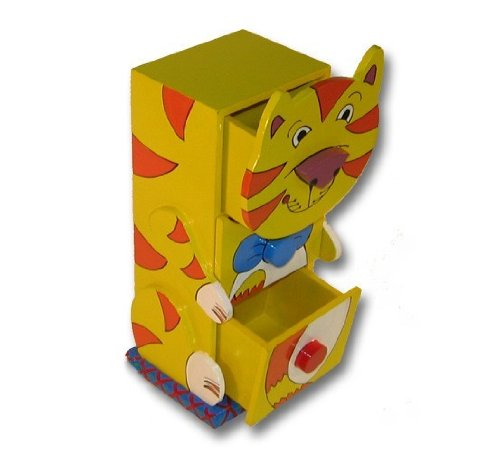 Holzbox Konsole Kästchen Katze mit 3 Schubladen