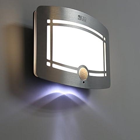 LED Luce da Muro, EZOWare Alluminio Sensore Luminosa Luce Notturna Wireless, Auto Accende / Spenge per l Corridoio, Percorso, Scalinata, Giardino, Muro, Strada Privata - Confezione da 2
