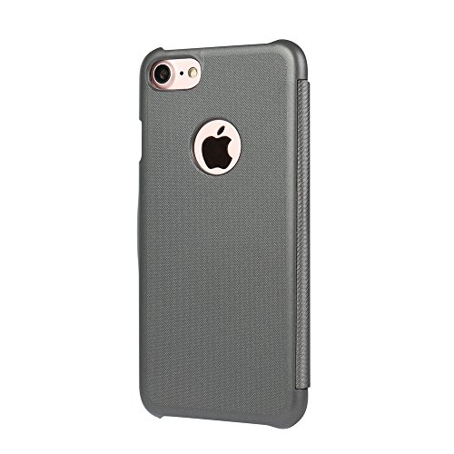 Cover iPhone 6s Plus, Cover iPhone 6 Plus, MTRONX Custodia Case Doppio Finestra Vista Ultra Foglio Flip Stile Libro Twill Spigato PU Pelle Magnetic Closure Paraurti per Apple iPhone 6s Plus, iPhone 6  Grigio