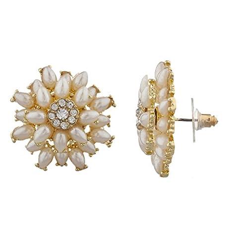 Lux Accessoires perle ton doré serti de pierre Floral Fleur Boucles d'oreilles clous Fashion