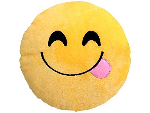 Emoji Kissen Emoticon Emojicon Lach Smiley Kissen Dekokissen Stuhlkissen Sitzkissen gelb rund, Variante wählen:Genießer Ki-09 von Alsino