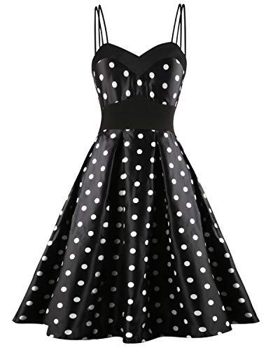 Hotelvs Damen Kleid 1950er Vintage Retro Cocktailkleider Spaghetti Abendkleid Sommerkleid