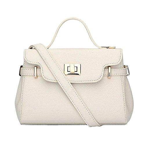 PU Messenger Bag Ornamenti metallici decorativi Borsa A Tracolla Semplice Donna Pink Beige