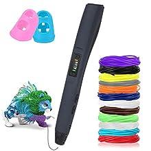 Stylo 3D Compatible avec filaments PLA ABS Uzone Stylo Intelligent 3D et 12 Multi-Couleur Filament PLA Φ1,75 mm, Total 120 Pieds, Stylo 3D pour Enfant, Adulte, débutant, avec Affichage LED
