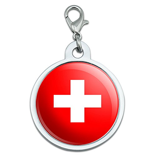 Schweiz Swiss Flagge groß verchromtem Metall Pet Dog Cat ID Tag