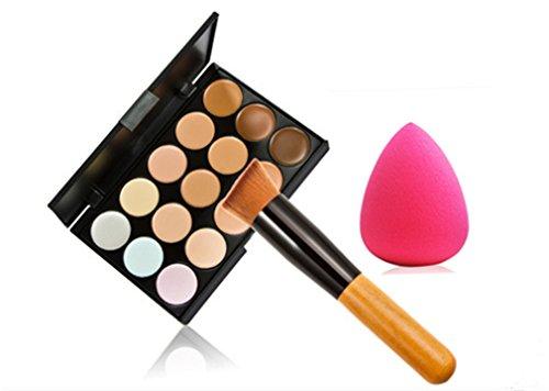 Gracelaza 1 Pcs Pinceaux Maquillage Trousse, 1 Éponge Fondation Puff + 15 Couleurs Palette de Maquillage Correcteur Camouflage Crème Cosmétique Set