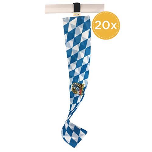 Mini-Flagge Freistaat Bayern , Kleine Deko-Fahne , Oktoberfest-Souvenir und Fan-Artikel zur Dekoration für Feiertage u.v.m. (20er Set)