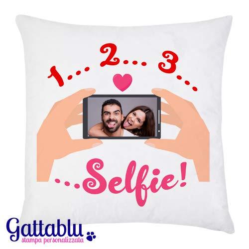 Federa per cuscino con stampa personalizzata con la tua foto: stampa il tuo selfie! 1 2 3 selfie! idea regalo divertente personalizzabile san valentino!