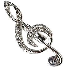 Bobury Forme a broche el regalo de la joyería de las broches del Pin de la nota de la música del Rhinestone de la broche
